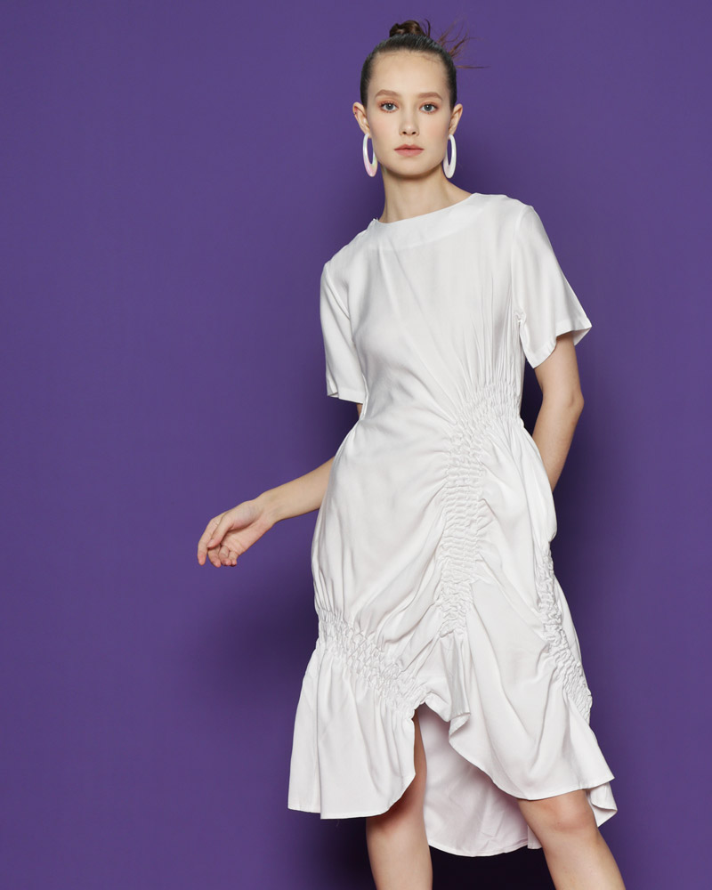 d969e96fe23 SOLD OUT - Join Waiting List · Random Ruched Dress  White