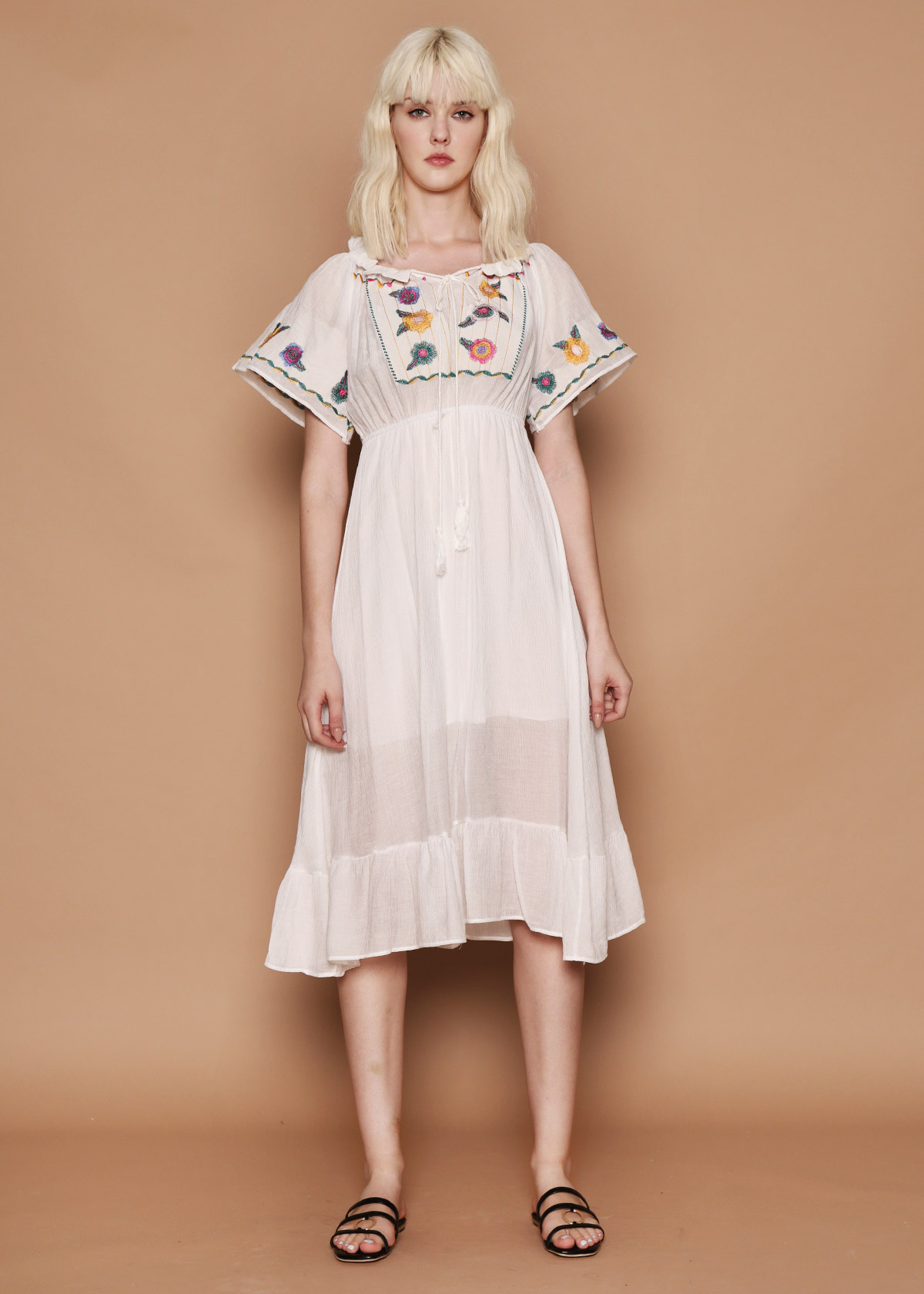 f83be3272ff White Embroidered Crepe Dress