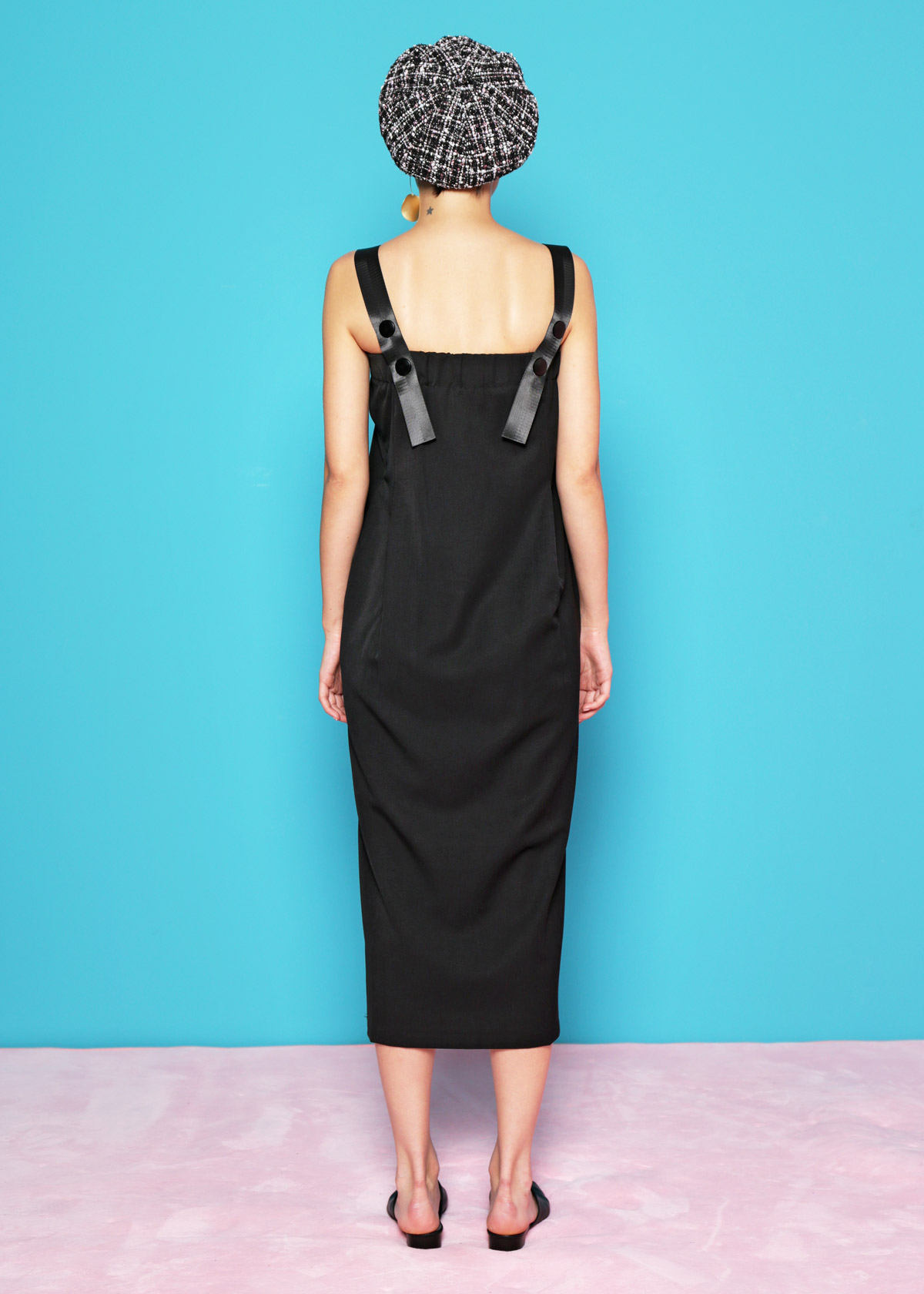 17f8c9b52d1 Snap Button Strap Tube Dress  Black