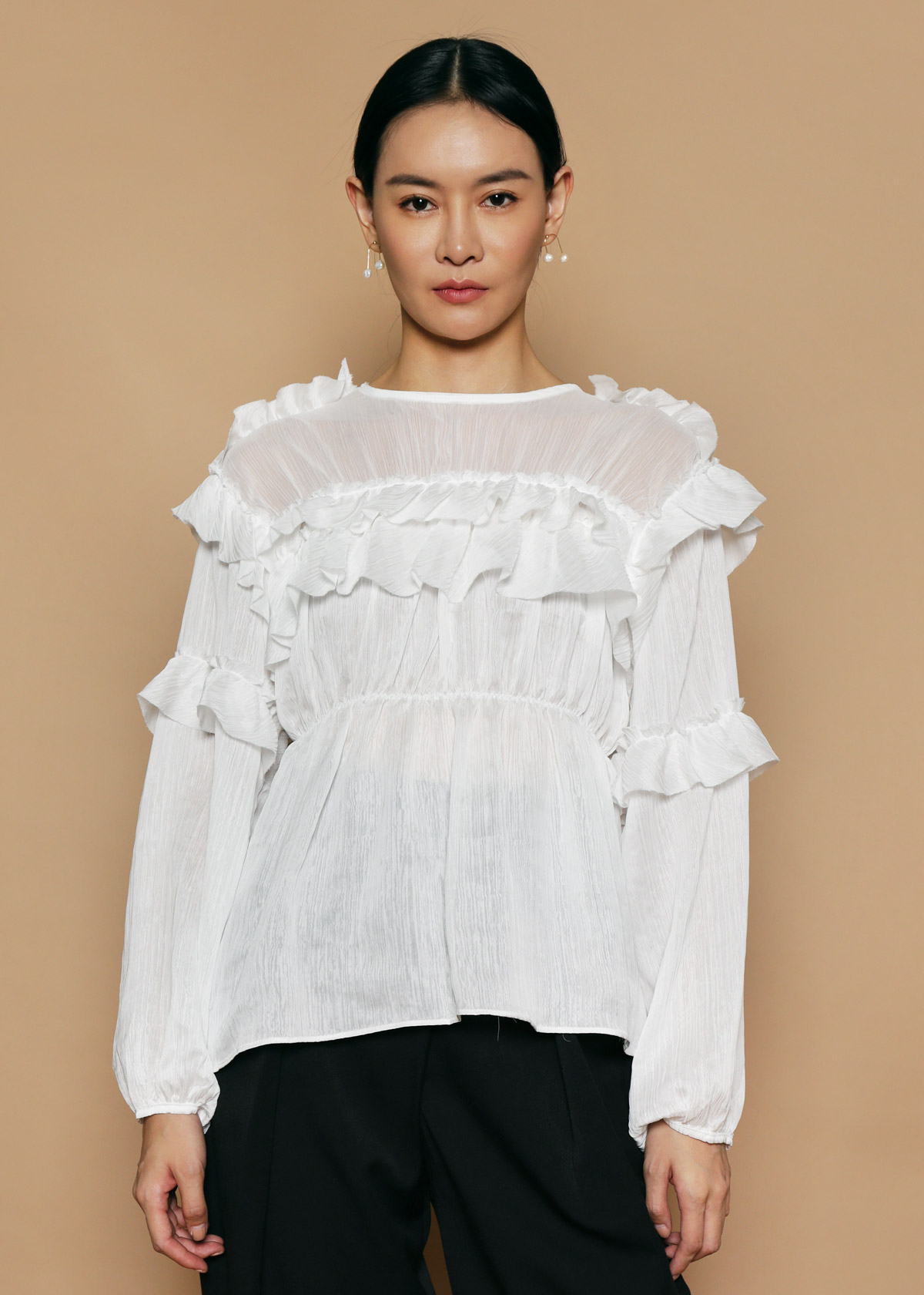 391f6a685ab Textured White Ruffle Blouse